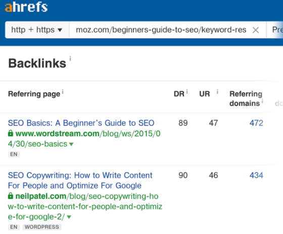Backlinks to MOZ keyword research guideline