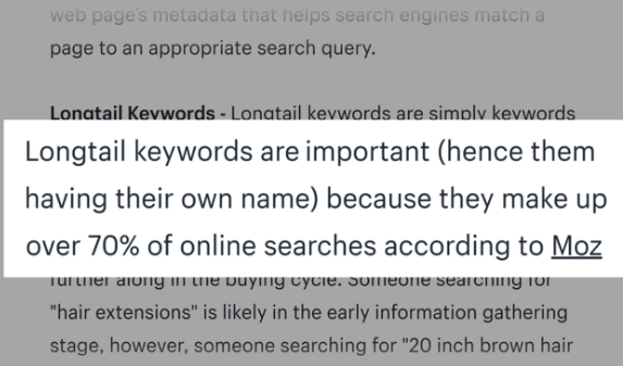 Long tail keywords quote from Moz