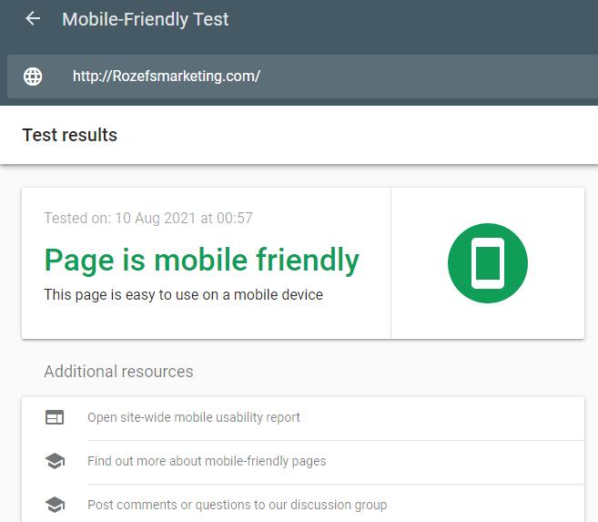 Rozefs Marketing mobile friendly test by Google